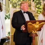 Melania's White House Christmas: First Lady stuns at the Congressional Ball in a $4,000 Reem Acra gown as husband Donald makes light of impending impeachment and predicts a great 2020